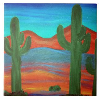 Southwestern Saguaro Sunset Painting Ceramic Tile