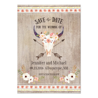 Southwestern Skull and Arrow Save the Date 13 Cm X 18 Cm Invitation Card
