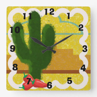 Southwestern Style Desert Scene With Saguaro - Wallclock