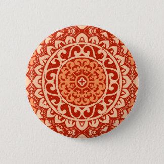Southwestern Sun Mandala Batik, Coral Orange 6 Cm Round Badge
