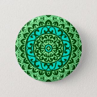 Southwestern Sun Mandala Batik, Lime Green 6 Cm Round Badge