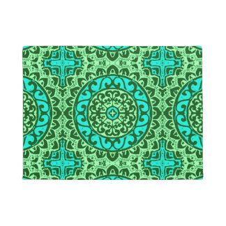 Southwestern Sun Mandala Batik, Lime Green Doormat