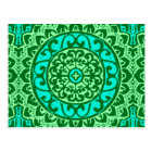 Southwestern Sun Mandala Batik, Lime Green Postcard