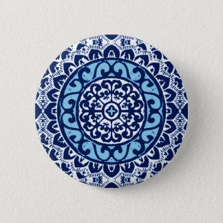 Southwestern Sun Mandala Batik, Navy Blue & White 6 Cm Round Badge