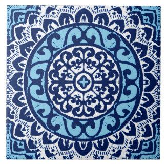 Southwestern Sun Mandala Batik, Navy Blue & White Large Square Tile