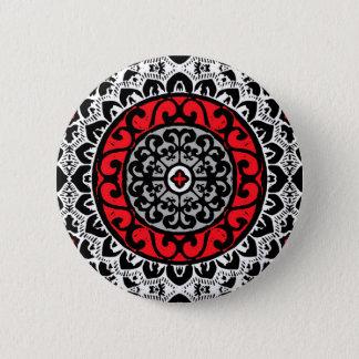 Southwestern Sun Mandala Batik, Red, Black & White 6 Cm Round Badge