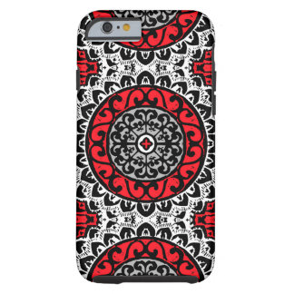 Southwestern Sun Mandala Batik, Red, Black & White Tough iPhone 6 Case