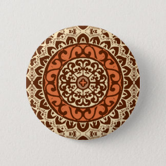 Southwestern Sun Mandala Batik, Rust & Brown 6 Cm Round Badge