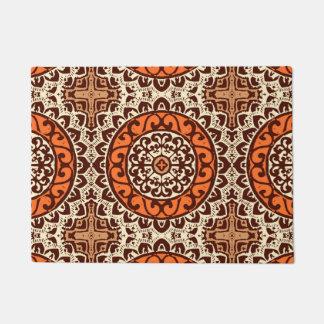 Southwestern Sun Mandala Batik, Rust & Brown Doormat
