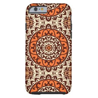 Southwestern Sun Mandala Batik, Rust & Brown Tough iPhone 6 Case