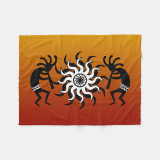 Southwestern Sunset Kokopelli Tribal Desert Sun Fleece Blanket