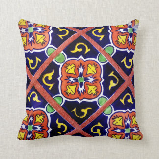 Southwestern Tile Design Throw Pillow  Cobalt Blue