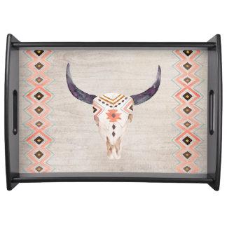 Southwestern Tribal Steer Skull Serving Tray