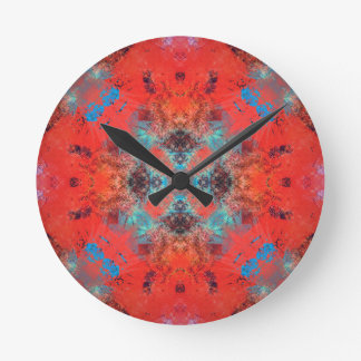southwestern Turquoise and Orange Pattern Design Round Clock