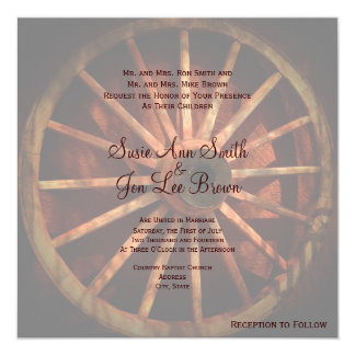 Southwestern Wagon Wheel Wedding Invitations