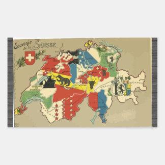 Souvenir De La Suisse, Vintage Rectangular Stickers