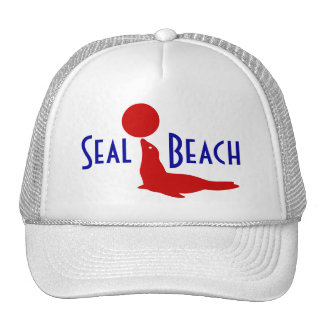 Souvenir Hat Seal Beach CA Travel Red White Blue