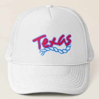 Souvenir Hat Texas Lariat Rope Red Blue on white