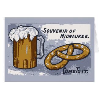Souvenir of Milwaukee, beer and pretzels Card