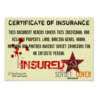 Soviet Cover Certificate Of Insurance Poster