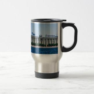 Soviet-era office building travel mug