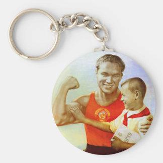 Soviet Exercise Propaganda Basic Round Button Key Ring