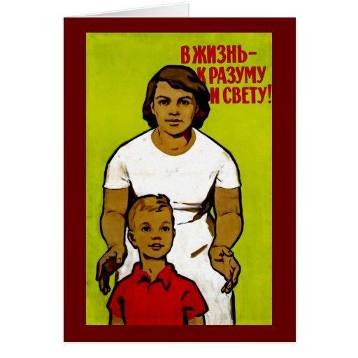 Soviet Family Propaganda Greeting Card