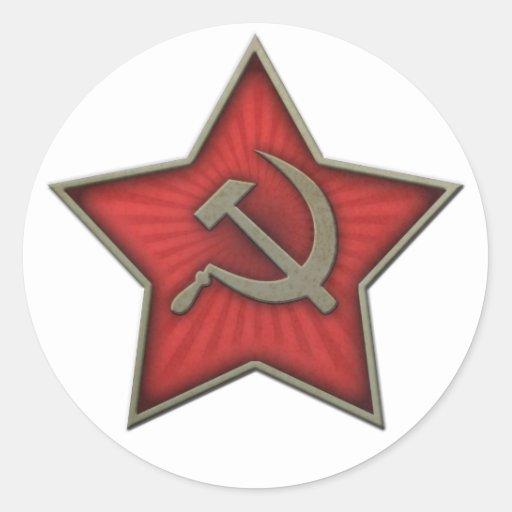 Soviet Star Hammer and Sickle Communist Round Stickers