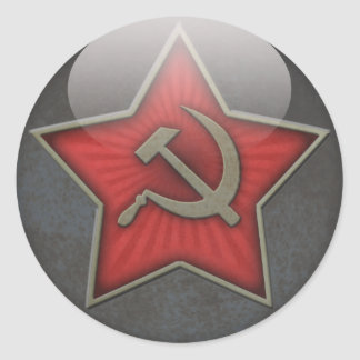 Soviet Star Hammer and Sickle Round Sticker