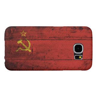 Soviet Union Flag on Old Wood Grain