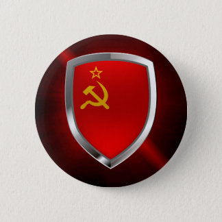Sovietic Union Mettalic Emblem 6 Cm Round Badge