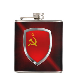 Sovietic Union Mettalic Emblem Hip Flask