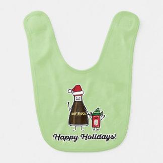 Soy Sauce Bottle Packet kid child Christmas Santa Bib