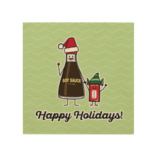Soy Sauce Bottle Packet kid child Christmas Santa Wood Wall Art