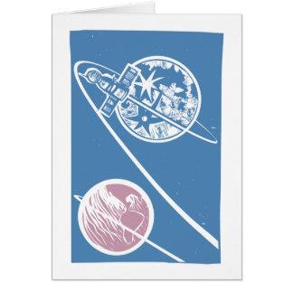 Soyuz Orbiting the Moon Card