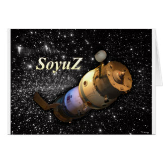 Soyuz Russian spacecraft in the sky with stars Card