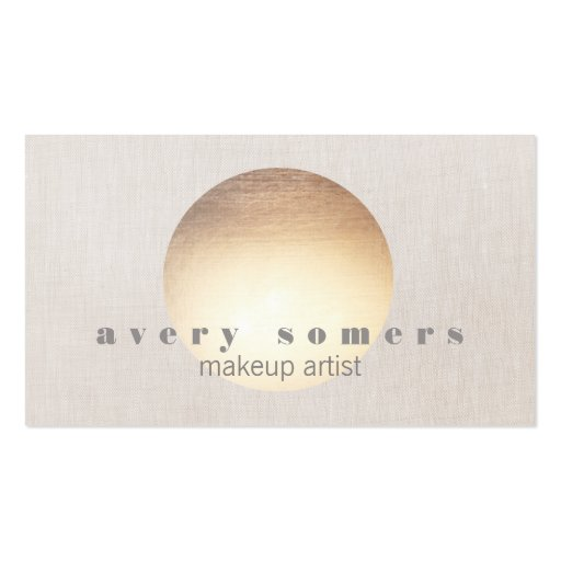 Spa and Salon Gold Circle Peach Linen Look Business Cards