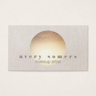 Spa and Salon Gold Circle Peach Linen Look Business Card