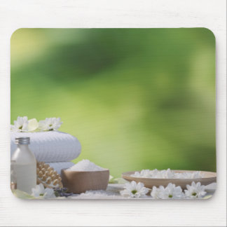 Spa and Wellness Utensils in a tropical garden Mousepad
