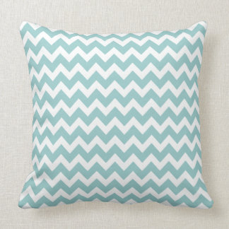 Spa Blue  Aqua Chevron Trendy Zig Zag Pattern Throw Pillow