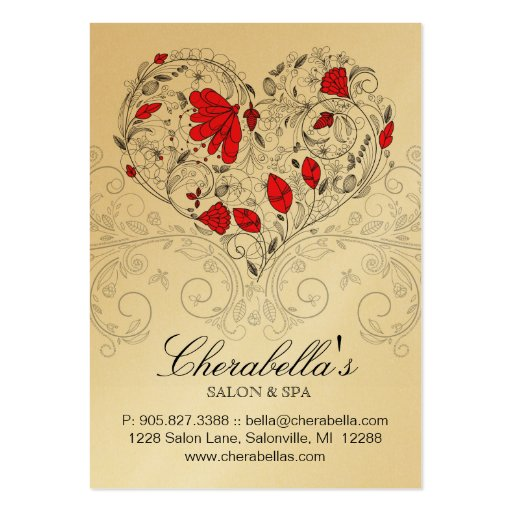 Spa Gift Card Salon Valentine Floral Heart Gold Business Card