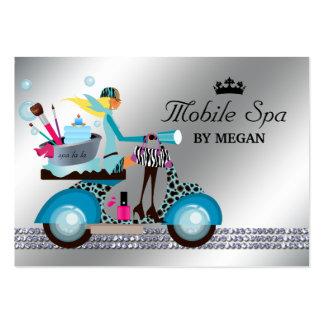 Spa Nail Salon Scooter Girl Fashion Modern Bubbles Business Card Template