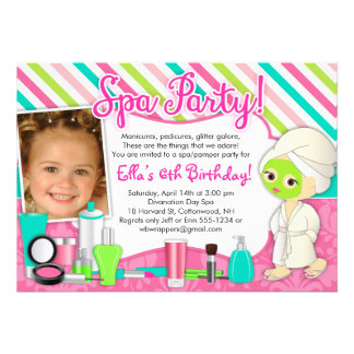 Spa Pamper Glamor Party Invitations with Photo