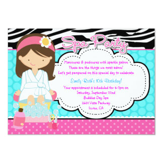 Spa Party 11 Cm X 16 Cm Invitation Card
