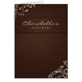 Spa Salon Brochure Beige Brown Linen Floral Card