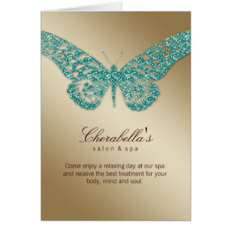 Spa Salon Brochure Card Butterfly Teal Gold