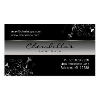 Spa - Salon Flower Elegant Silver Business Card