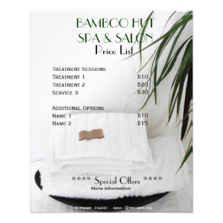 Spa Salon massage price list A5 flyer
