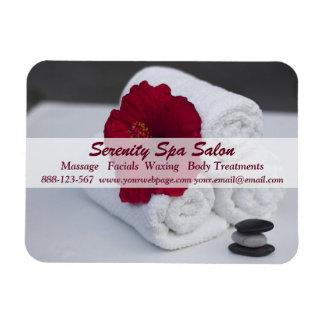 Spa Salon Massage Towels Hibiscus Rectangular Photo Magnet