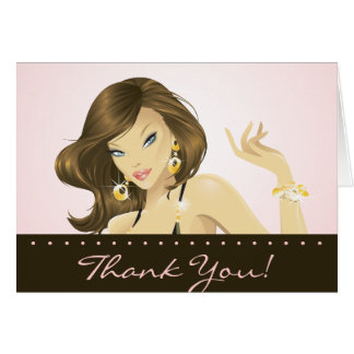 Spa Salon Thank You Card Pretty Pink Woman